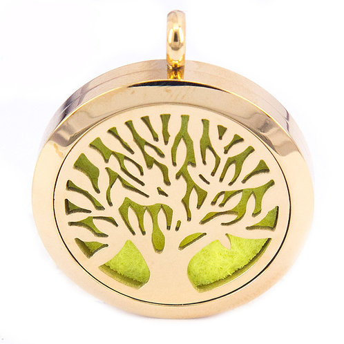Tree of Life Pendant Diffuser Necklace  Gold PVD Stainless Steel 30mm