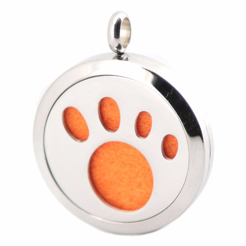 Puppy Paw Print Pendant Diffuser Stainless Steel Necklace