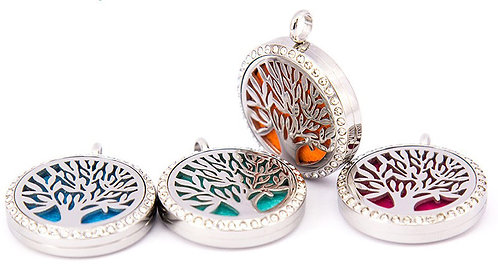 Tree of Life Pendant Diffuser Necklace with Czech Crystals Stainless Steel