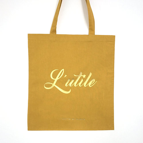 TOTE BAG RECTO/VERSO | L'UTILE À L'AGRÉABLE - MOUTARDE