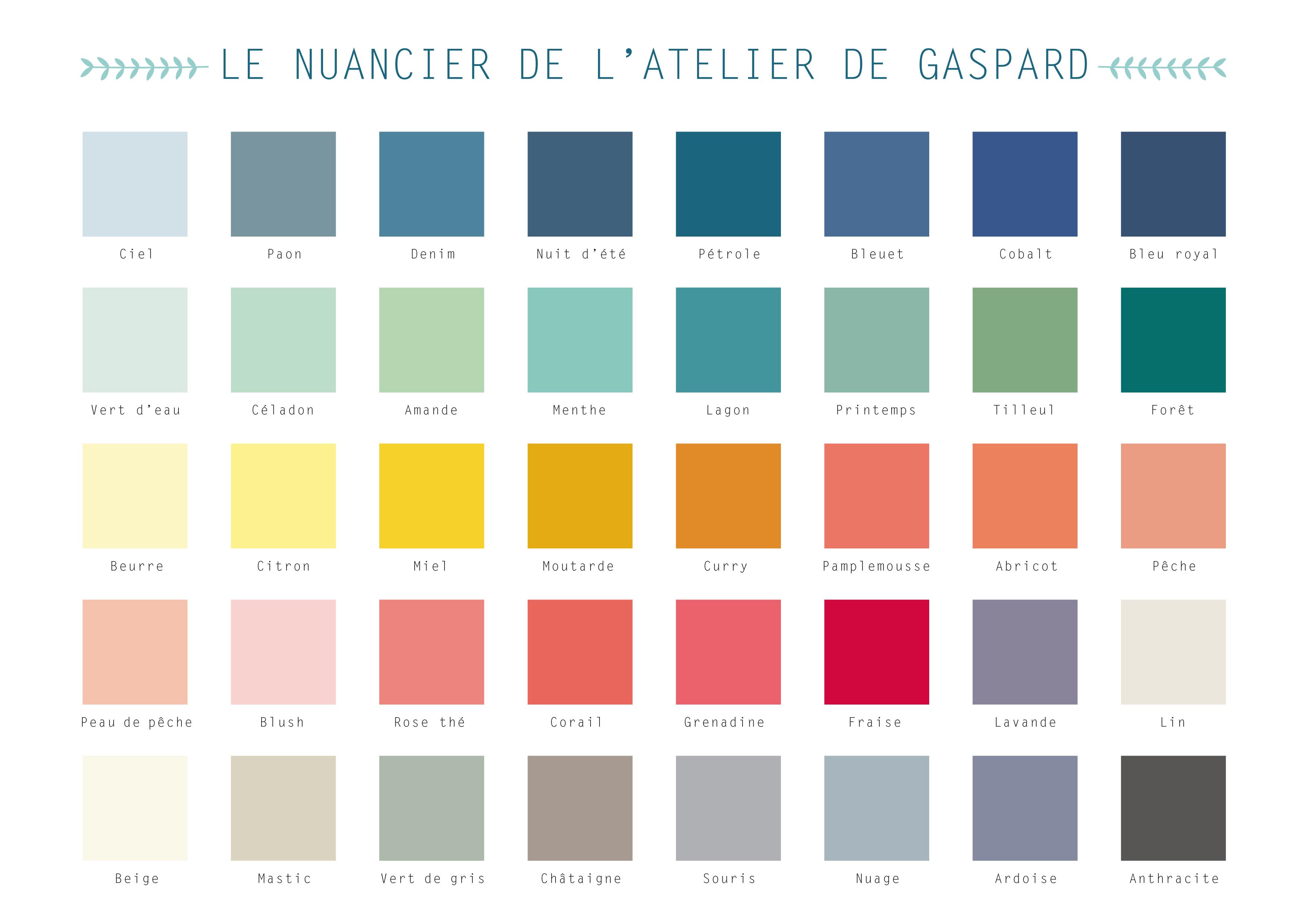NUANCIER DE L'ATELIER DE GASPARD