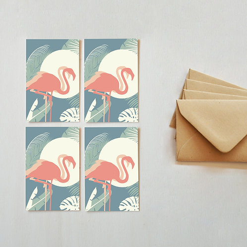 LOT DE 4 MINI CARTES | FLAMANTS ROSES