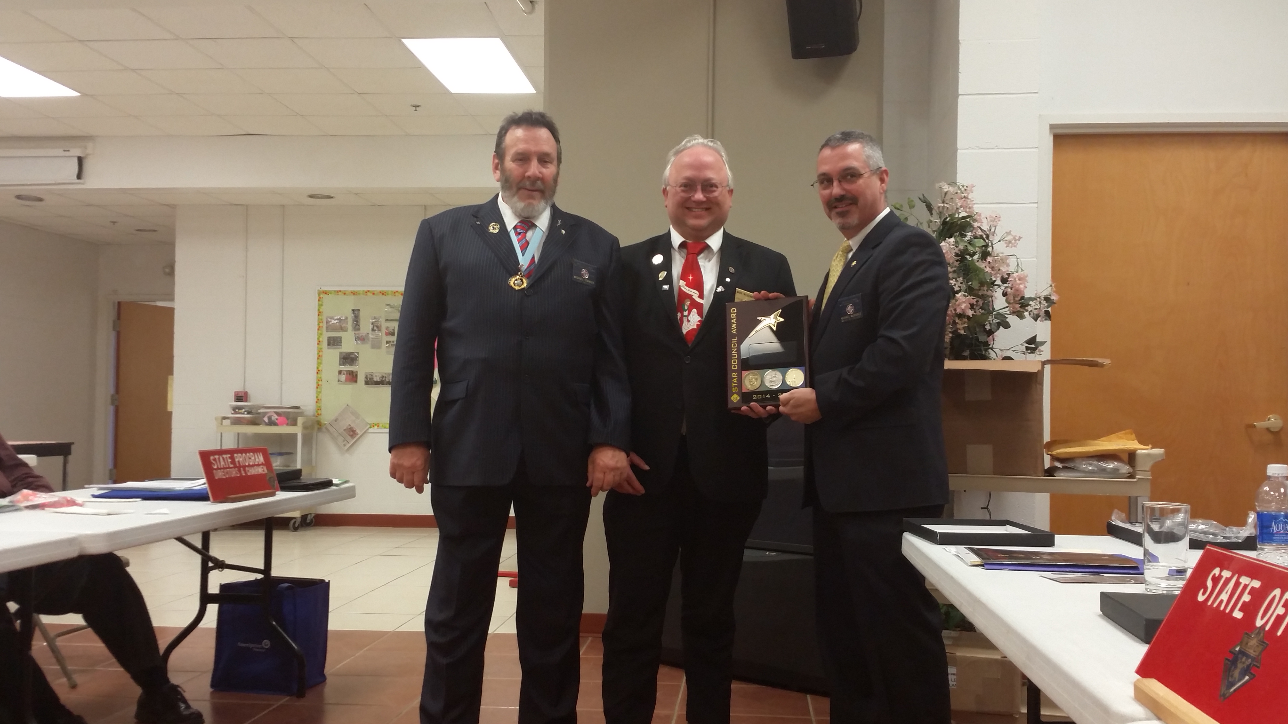 State Warden Mike Stanger & Mark Wilgenbusch W 2015 WV Knights of Columbus 12191 Star Council Award