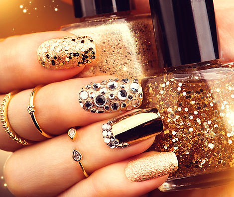 Golden Nail art manicure. Holiday style