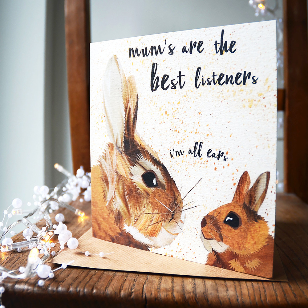 Mother's Day card, 2 rabbits