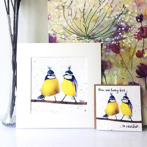 Funny Birds Mounted Print (Square)