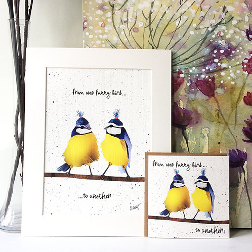 Funny Birds Mounted Print