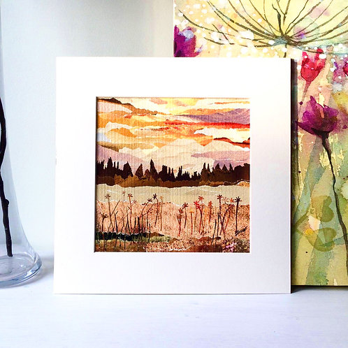 Meadow At Dusk Mounted Print
