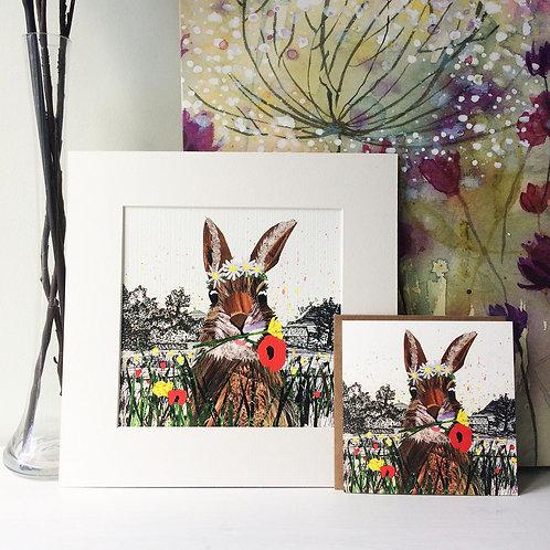 Meadow Bunny Mounted Print