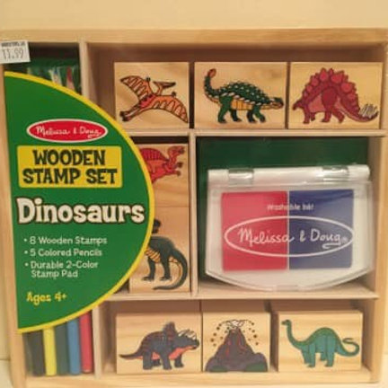 Melissa & Doug Wooden Stamp Set, Dinosaurs