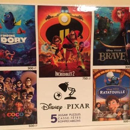 Disney Pixar 5 Jigsaw Puzzles, F Nemo_Incr_Coco_Brave_Rat