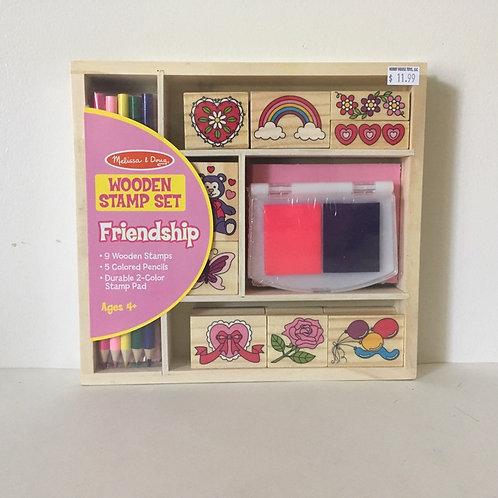 Melissa & Doug Wooden Stamp Set - Friendship