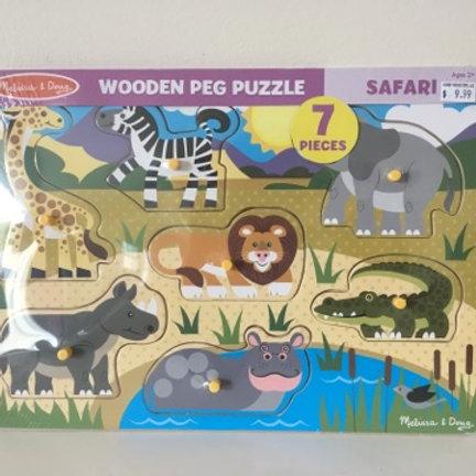 Melissa & Doug Wooden Peg Puzzle - Safari