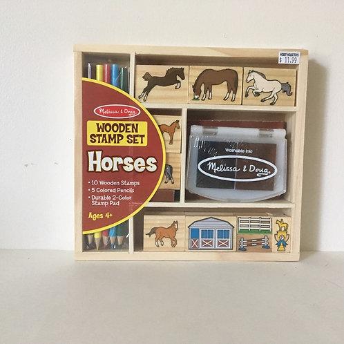 Melissa & Doug Wooden Stamp Set - Horses.