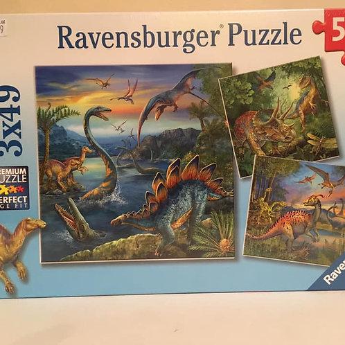 Ravensburger 3X49 Puzzle, Dinos