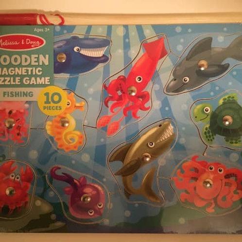 Melissa & Doug Wooden Magnetic Puzzle Game, FISHING, 10 pcs
