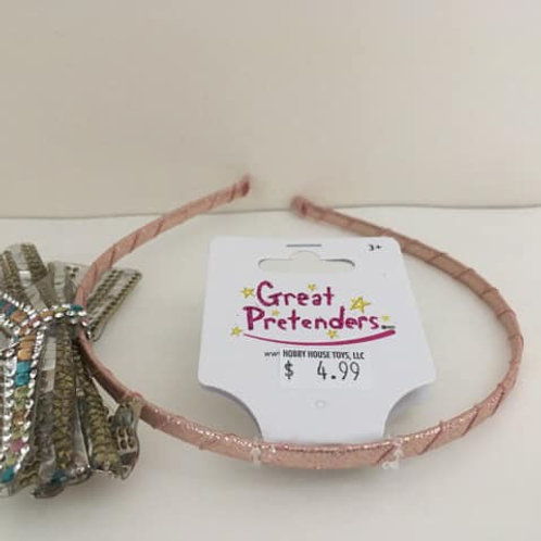 Great Pretenders, light pink headband with silver bow