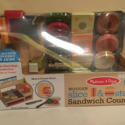 Melissa & Doug Wooden Slice & Stack Sandwich Counter