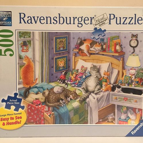 Ravensburger 500 pc Puzzle, CATS IN BEDROOM