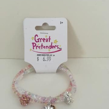 Great Pretenders Bracelet, pink white with silver dangly