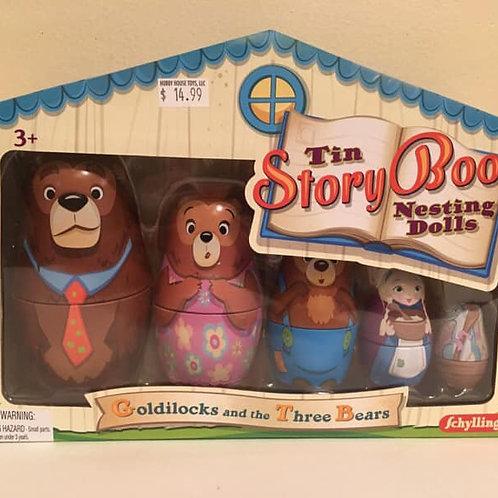 Schylling Tin Story Book Nesting Dolls Goldilocks and the Three Bears