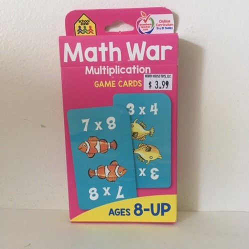School Zone Math War Multiplication Game Cards