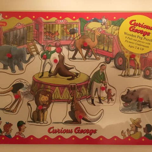 Schylling Wooden Peg Puzzle - Curious George