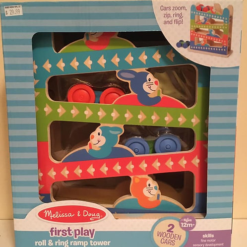 Melissa & Doug First Play Roll & Ring Ramp Tower 2 Wooden Cars