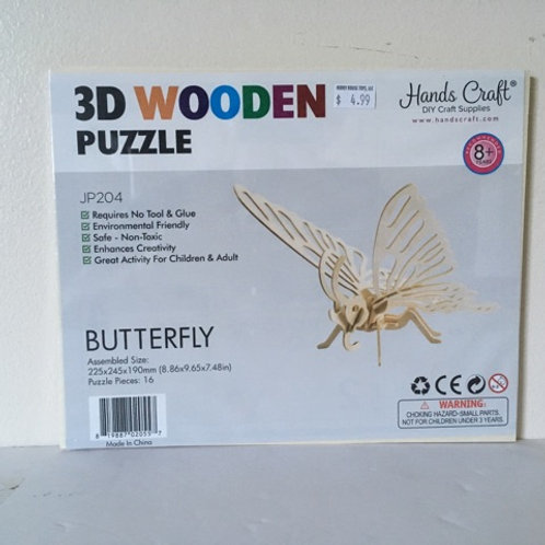 Hands Craft 3D Wooden Butterfly Puzzle