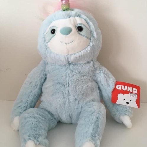 Gund Blue sloth with rainbow horn