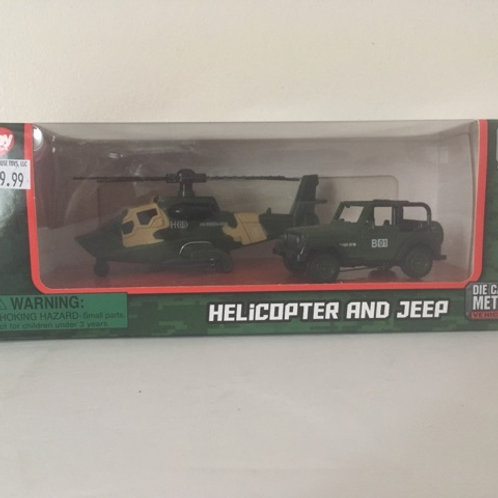 Die Cast Helicopter & Jeep Set