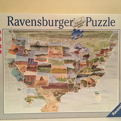 Ravensburger 1000 pc Puzzle, US Map Parks