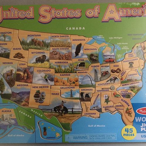 Melissa & Doug Wooden Jigsaw Puzzle United States of America