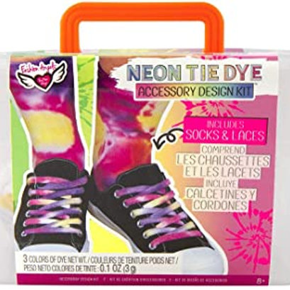 Fashion Angels Neon Tie Dye Socks & Shoelaces Kit Tie Dye Caddy Set