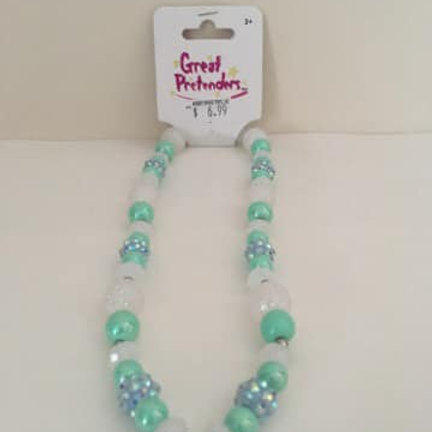 Great Pretenders Necklace, blue teal white beads