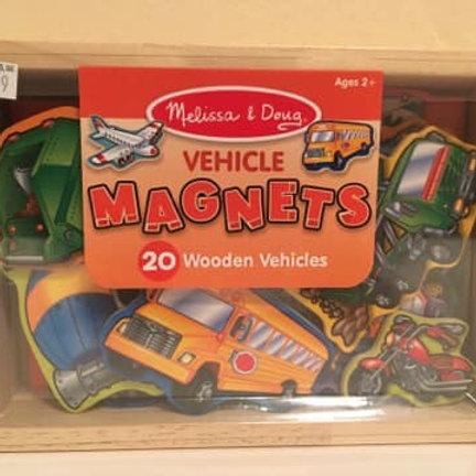 Melissa & Doug Vehicle Magnets, 20 Wooden Vehicles