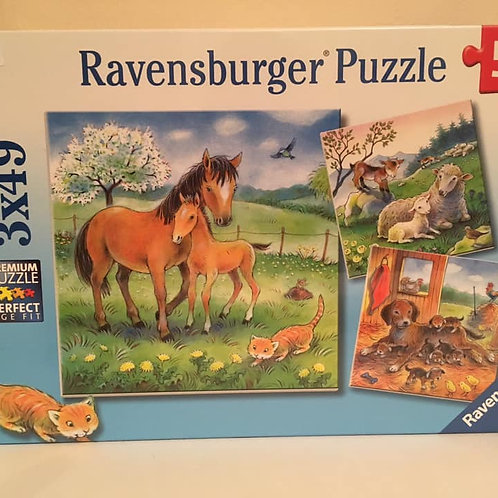 Ravensburger 3X49 pc Puzzle, Parent and Baby Animals