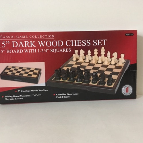 "15"" Dark Wood Chess Set"