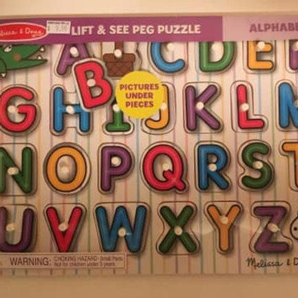 Melissa & Doug Lift & See Peg Puzzle -Alphabet