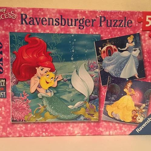 Ravensburger 3X49 pc Puzzle, Disney Princess, Ariel Bell Cinderella