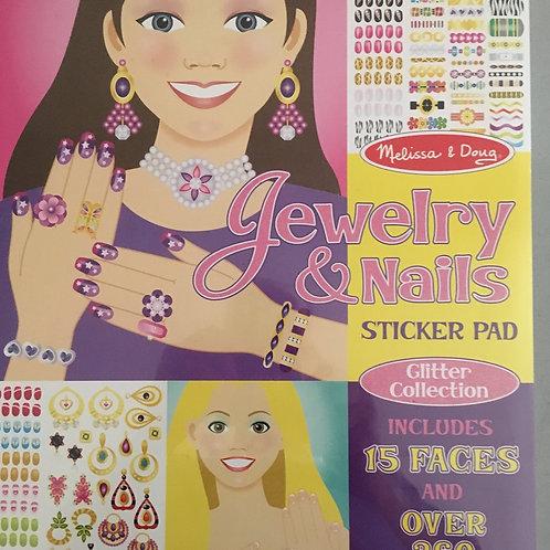 Melissa & Doug Jewelry & Nails Sticker Pad Glitter Collection