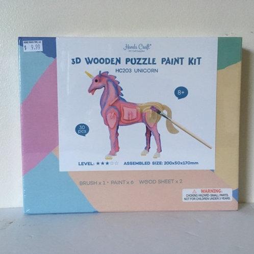 Hands Craft 3D Wooden Puzzle Unicorn Paint Kit