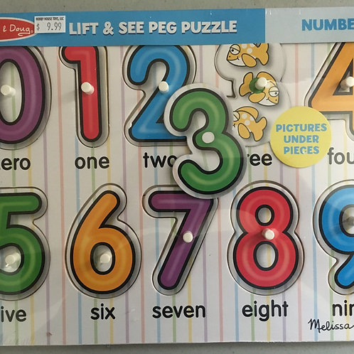 Melissa & Doug Lift & See Peg Puzzle - Numbers