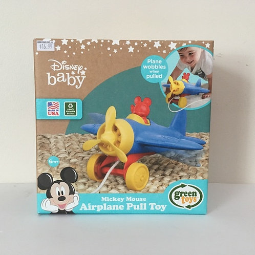 Green Toys Mickey Mouse Airplane Pull Toy