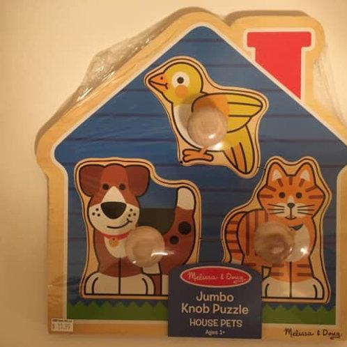 Melissa & Doug Jumbo Knob Puzzle - House Pets