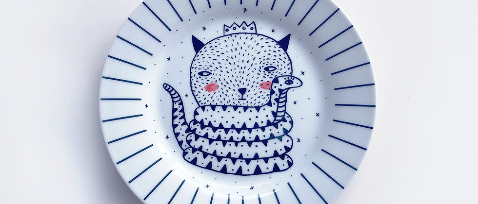 CAT & SNAKE PORCELAIN PLATE