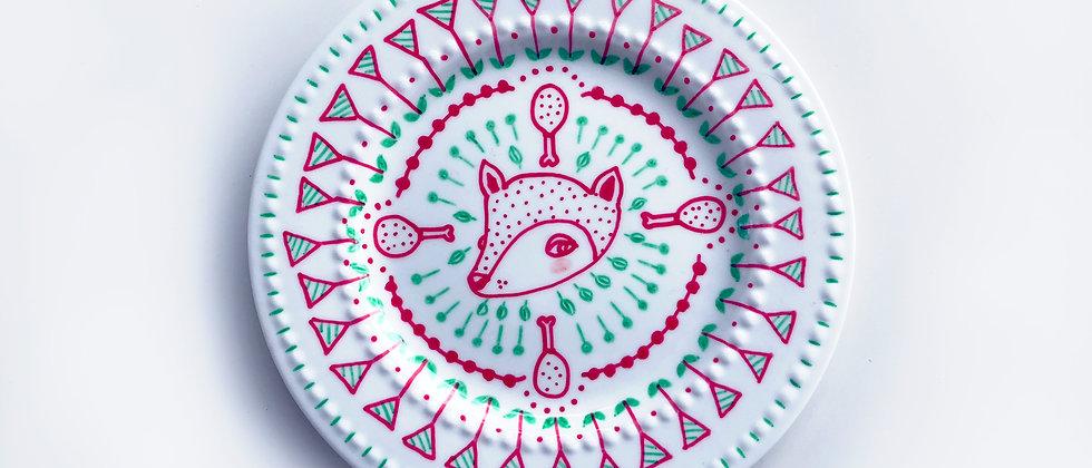 FOX PORCELAIN PLATE