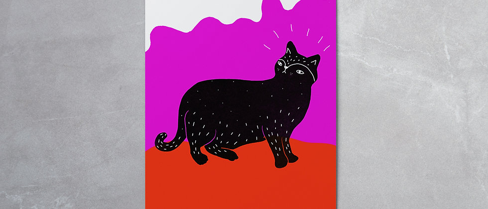 PINK CAT GREETING CARD