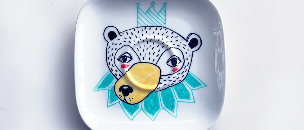 PARTY BEAR PORCELAIN PLATE