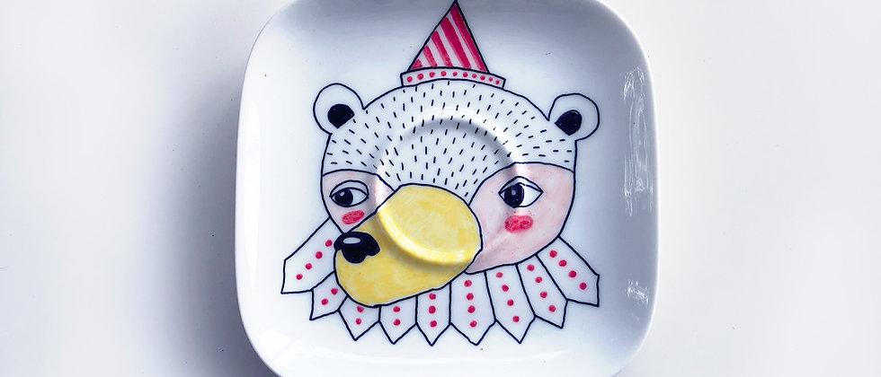 PARTY BEAR PORCELAIN PLATE